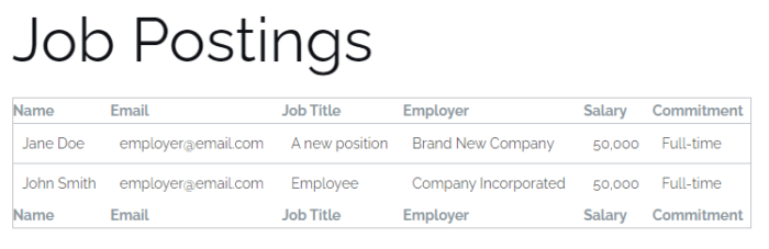 A simple table showing the results of the job board site WordPress forms.