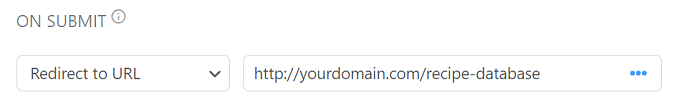 A sample of which URL users should redirect a search form to.