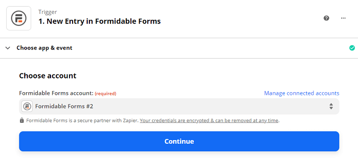 Verifying Formidable Forms account in Zapier.
