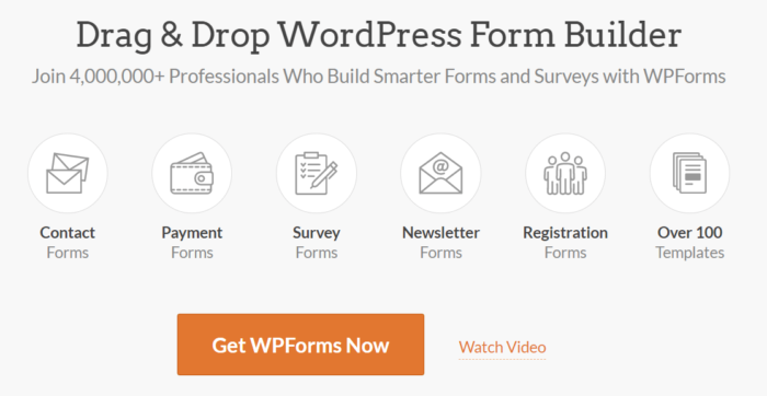 The home page for WPForms, one of several Google form alternatives
