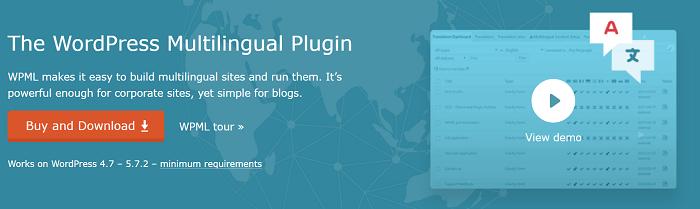 The logo for the popular translation plugin, WPML.