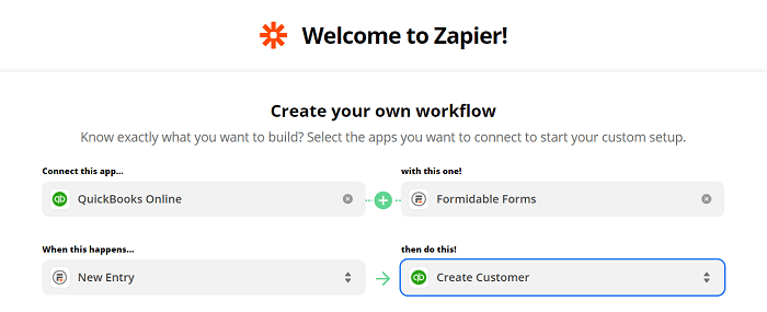 The correct settings for using Zapier to create a WordPress Quickbooks Online integration.