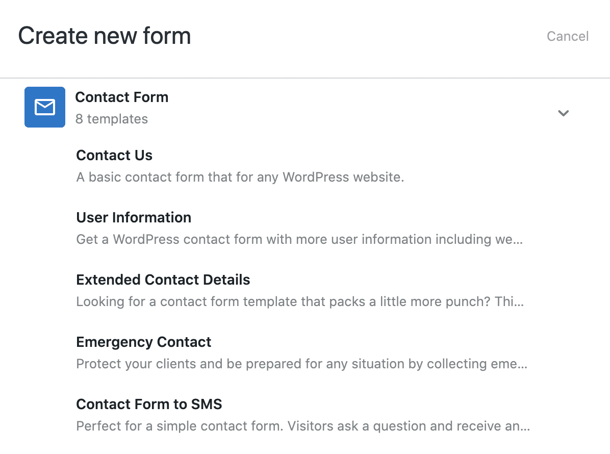 Formidable contact form templates.
