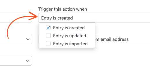Setting the edit form action trigger