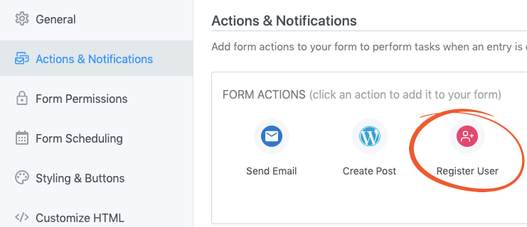 Form action to connect user registration with profile editing