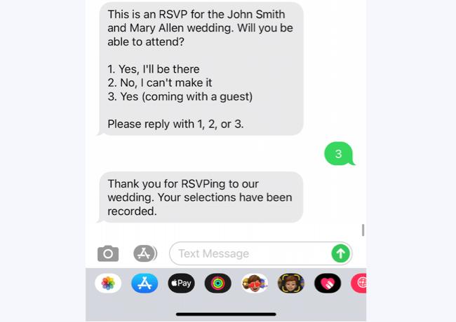 rsvp text message sample