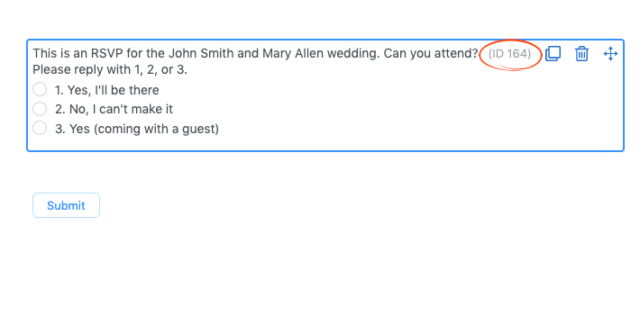sample of RSVP form with field ID