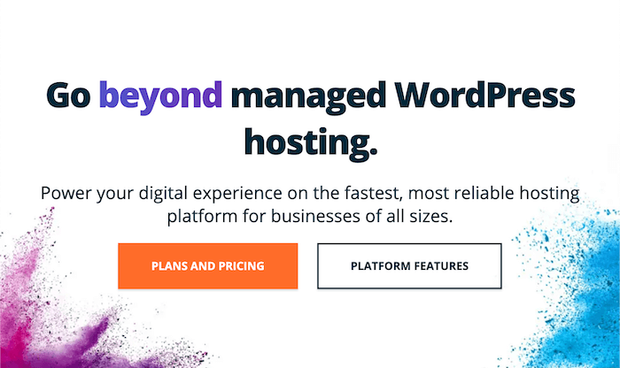 The home page for WPEngine, a WordPress hosting provider.