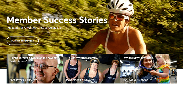 A testimonial page example from anytime fitness using videos.