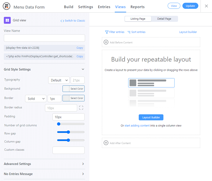 The default generated screen for creating a new grid view. Users can fill it in with the right formatting to have it act as a WordPress restaurant menu plugin.