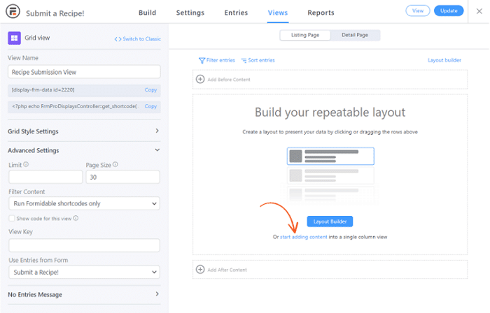 An image of the new View builder and it's options.