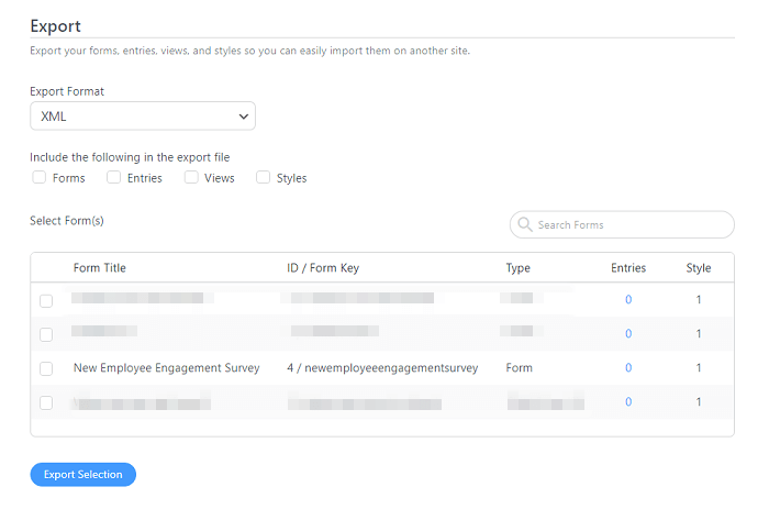 The export options under an employee engagement survey.