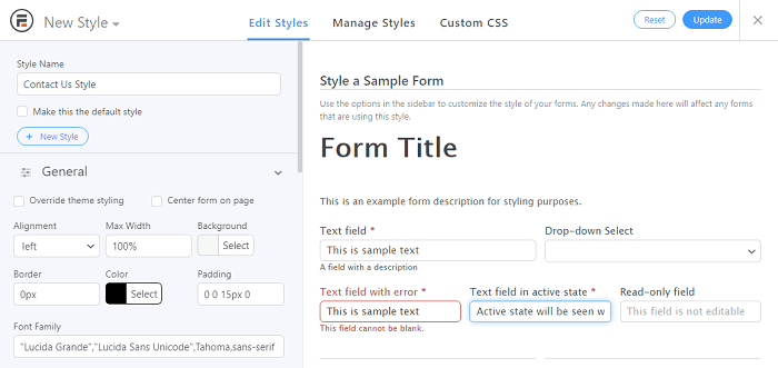 A new style sheet to apply to a great contact us page.