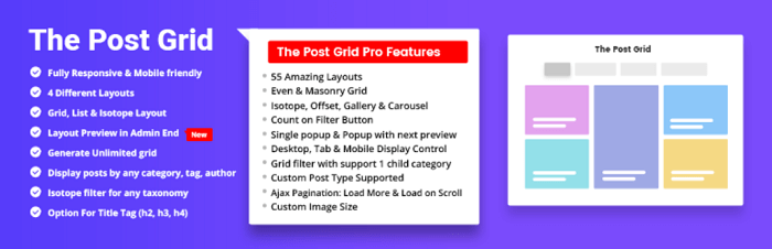 The main banner for The Post Grid Banner, one of the more popular WordPress grid plugins.