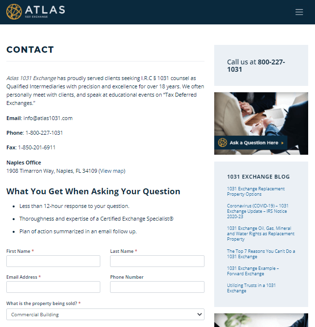 A contact us page example from Atlas.