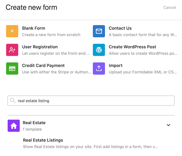 Create listing form template