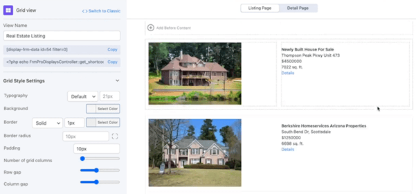 real estate grid view layout