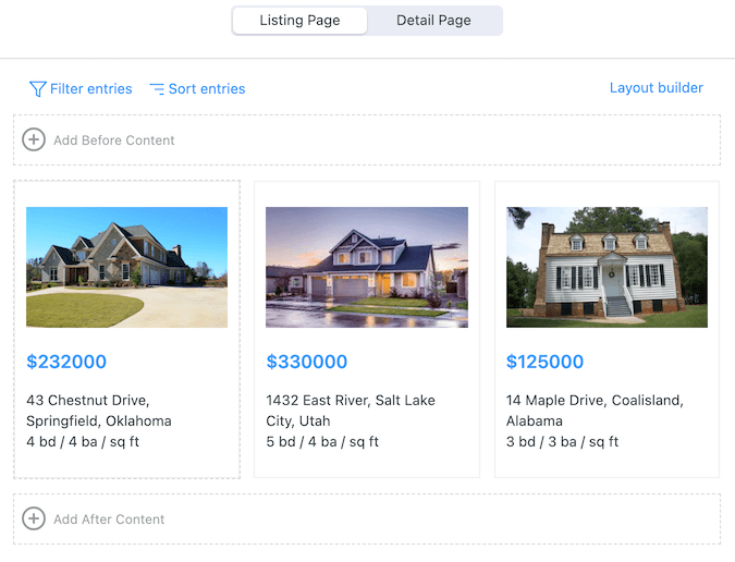 real estate listing application builder