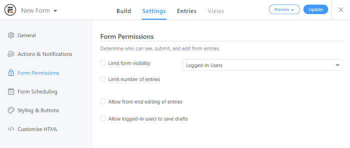 The option to allow front-end editing for a WordPress journal.