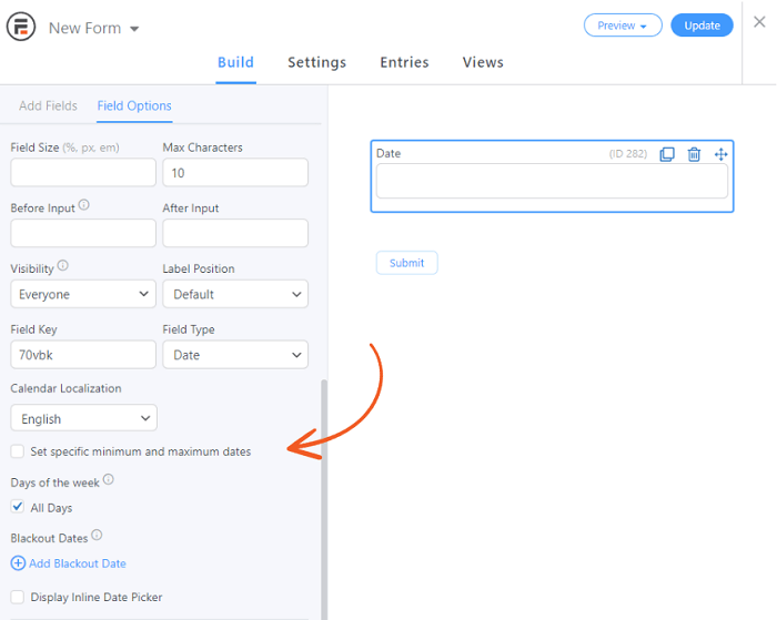 The add-on enabled datepicker calendar.
