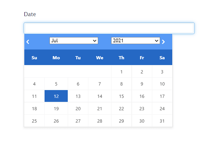 An example of a front-end WordPress datepicker.