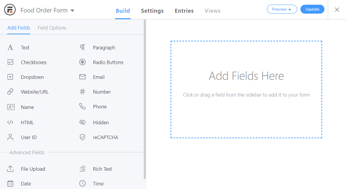 The editing screen for a simple food order form.