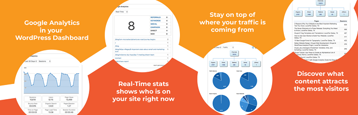 The banner for GAinWP, one of the top WordPress Google Analytics plugins.