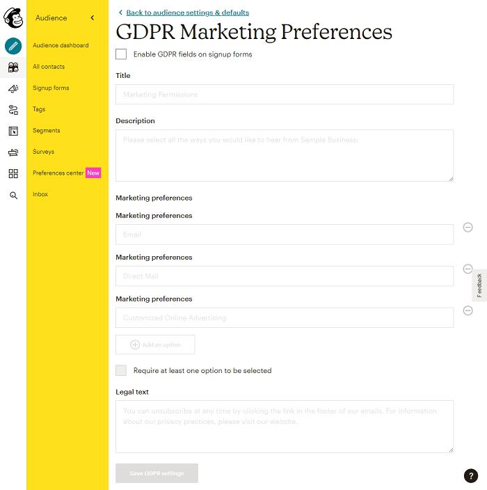 GDPR marketing preferences on MailChimp.