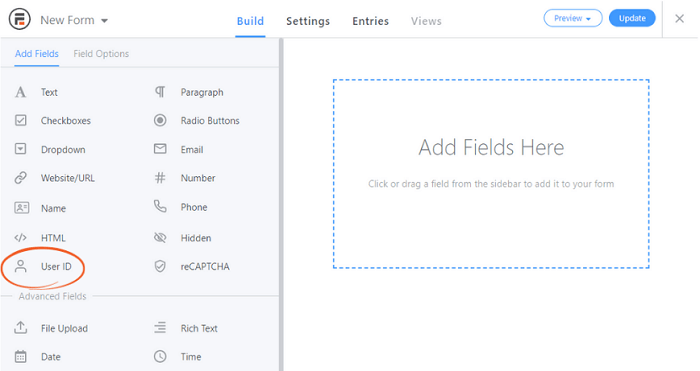 The new form page with the User ID option circled to help you get started with your WordPress diary.