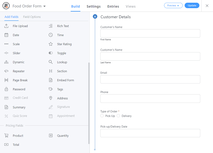 A preview of some sample user information fields in the food order form.