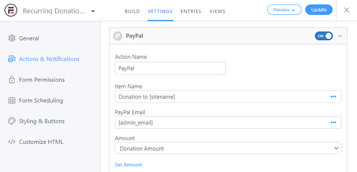 An example of the PayPal settings to add it to a form, a crucial step for setting up a recurring donation WordPress option.