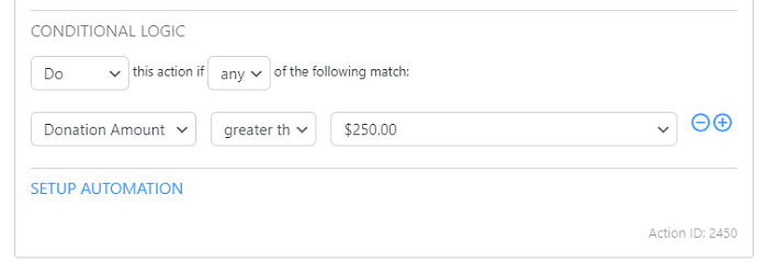 An example of a conditional logic email to maximize the recurring donations WordPress option.