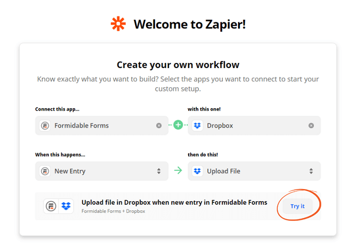 A Zapier menu with the 'try it' button circled.