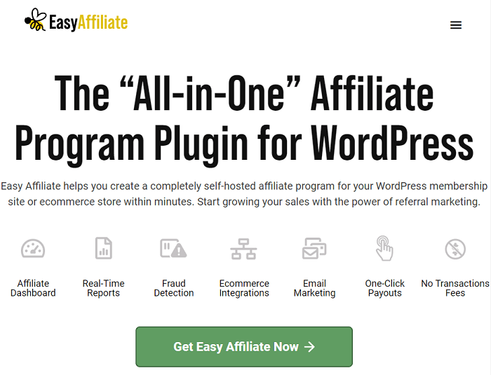 The homepage banner for Easy Affiliate plugin for WordPress.
