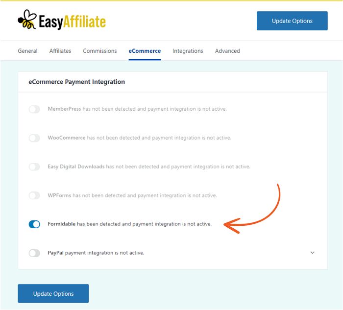 The settings for integrating Easy Affiliate and Formidable Forms.