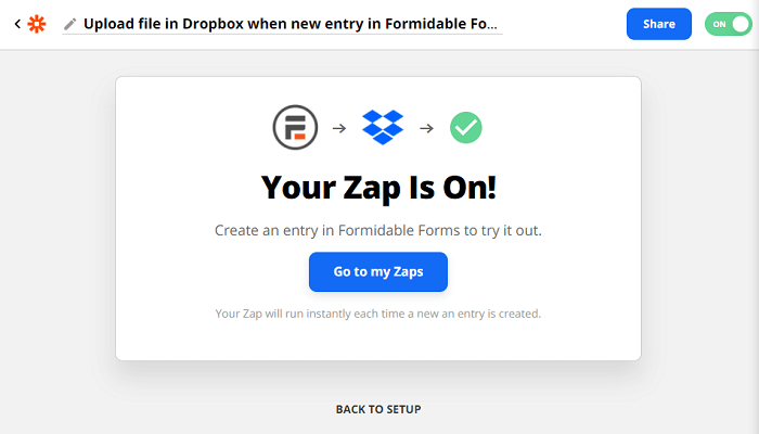 The final success screen after connecting Formidable Forms with Dropbox using Zapier.