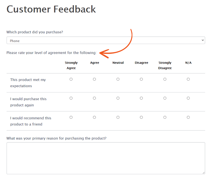 Survey example of a Likert scale on a customer satisfaction survey.