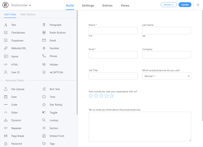 The editing interface for the Testimonial template, which helps you place fields side by side.