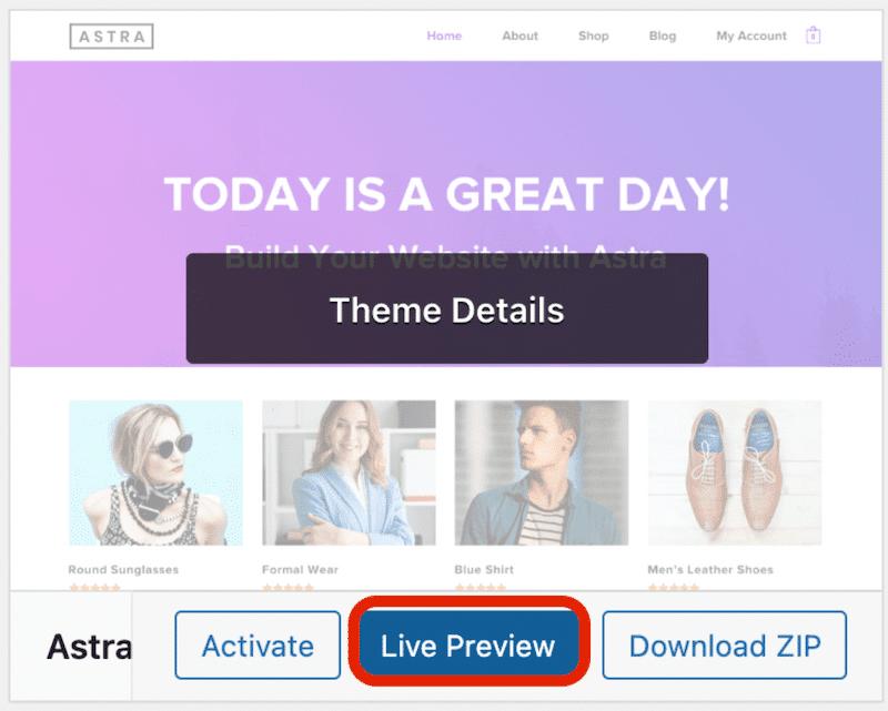 WordPress theme live preview