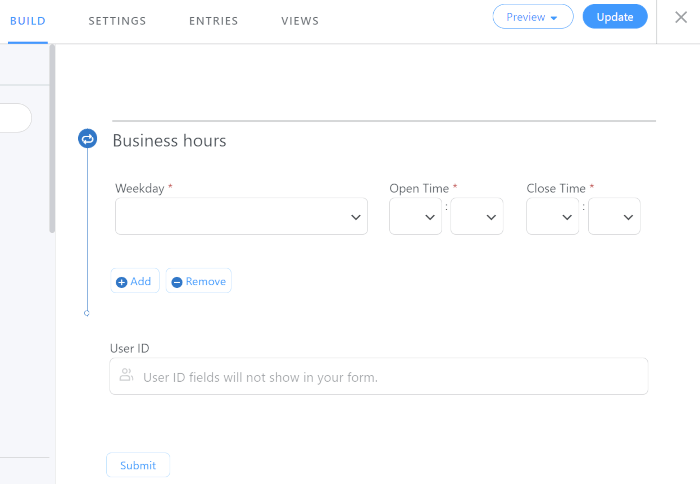 The Business Hours Template form to display business hours on your website.