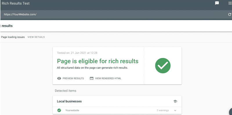 Schema markup rich results