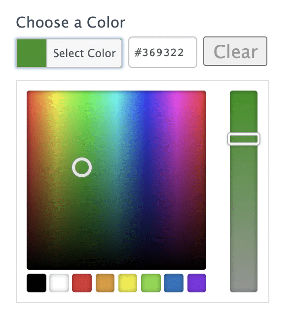 Wordpress color picker in form example