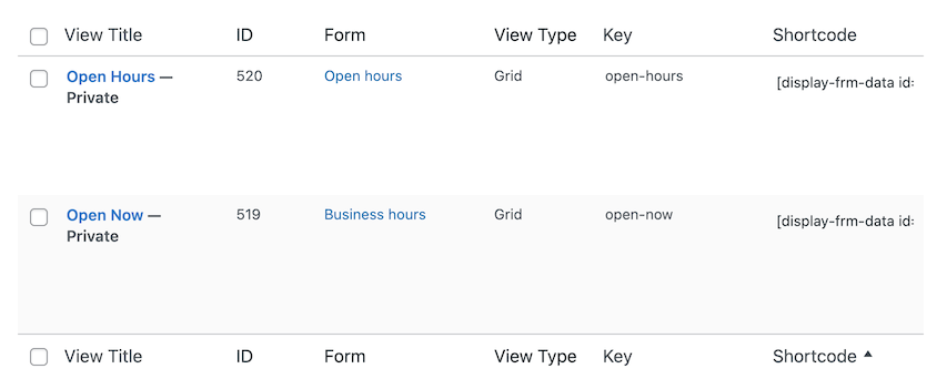 Different Views in the Business Hours form to display business hours on your website.