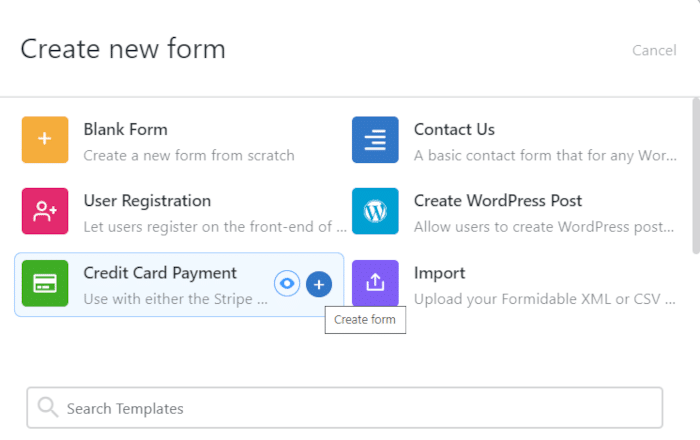Using a Formidable Forms template for WordPress Stripe integration.