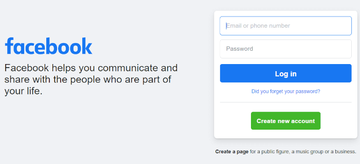 The Facebook login page.