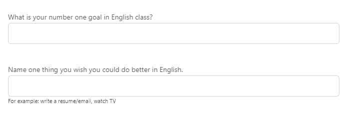 Survey questions for students: goals for a class