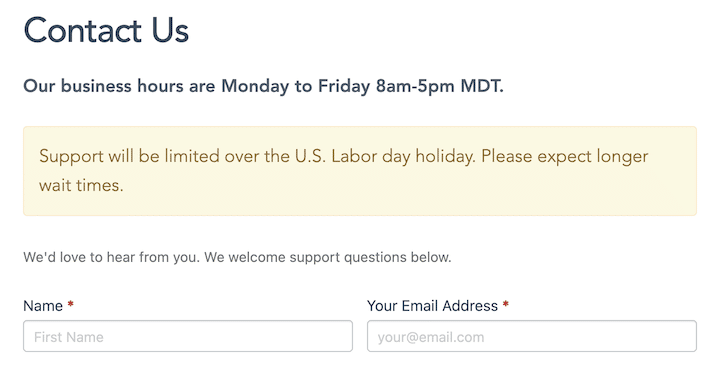 Holiday out of office message to display business hours on your website.