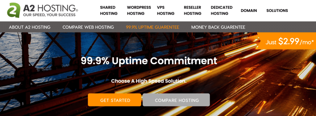 An example of a hosting provider that offers an uptime guarantee.