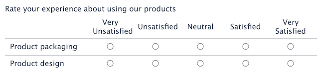 5-point Likert scale example in WordPress form