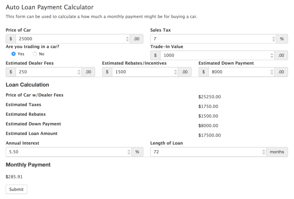 Car loan calculator payment 11